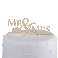 Mr & Mrs Acrylic Wedding Cake Topper with Heart - Gold Mirror