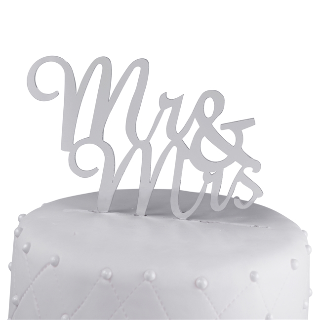 Mr & Mrs Acrylic Wedding Cake Topper Script - Silver Mirror