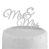 Mr & Mrs Acrylic Wedding Cake Topper New - Silver Mirror