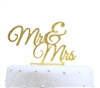 """Mr & Mrs"" Elegant Acrylic Cake Topper - Gold Glitter"