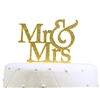 """Mr & Mrs"" Large Acrylic Cake Topper - Gold Glitter"