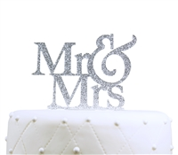 """Mr & Mrs"" Large Acrylic Cake Topper - Silver Glitter"
