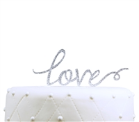 """Love"" Acrylic Wedding Cake Topper - Silver Glitter"