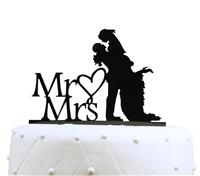 Mr & Mrs Silhouette Acrylic Cake Topper