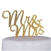 """Mr & Mrs"" Script Acrylic Cake Topper - Gold Glitter"