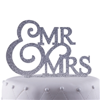 Mr. & Mrs. Wedding Acrylic Cake Topper - Silver Glitter