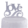 Love Wedding Acrylic Cake Topper - Silver Glitter