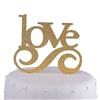 Love Wedding Acrylic Cake Topper - Gold Glitter