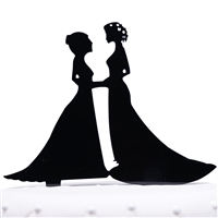 Mrs & Mrs Lesbian Couple Silhouette Acrylic Wedding Cake Topper
