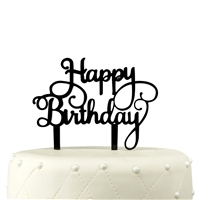 Happy Birthday Acrylic Cake Topper - Black