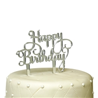Happy Birthday Acrylic Cake Topper - Silver Mirror