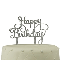 Happy Birthday Acrylic Cake Topper - Silver Glitter