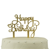 Happy Birthday Acrylic Cake Topper - Gold Glitter