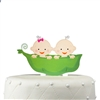 """Two Peas in the Pod"" Twins Acrylic Cake Topper - Boy & Girl"