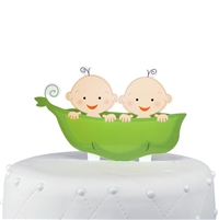 """Two Peas in the Pod"" Twins Acrylic Cake Topper - Boys"