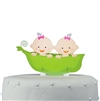 """Two Peas in the Pod"" Twins Acrylic Cake Topper - Girls"