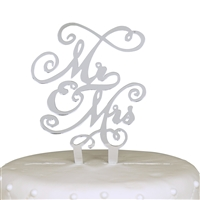 Mr & Mrs Acrylic Cake Topper - Silver Mirror