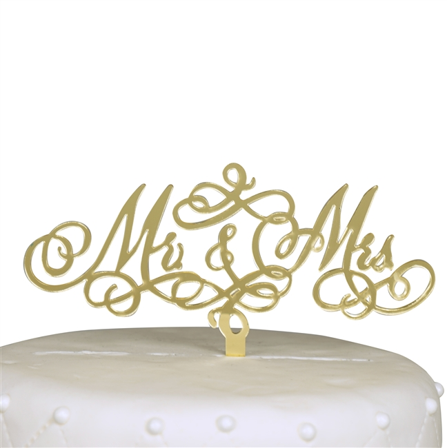 Mr & Mrs Acrylic Cake Topper - Gold Mirror