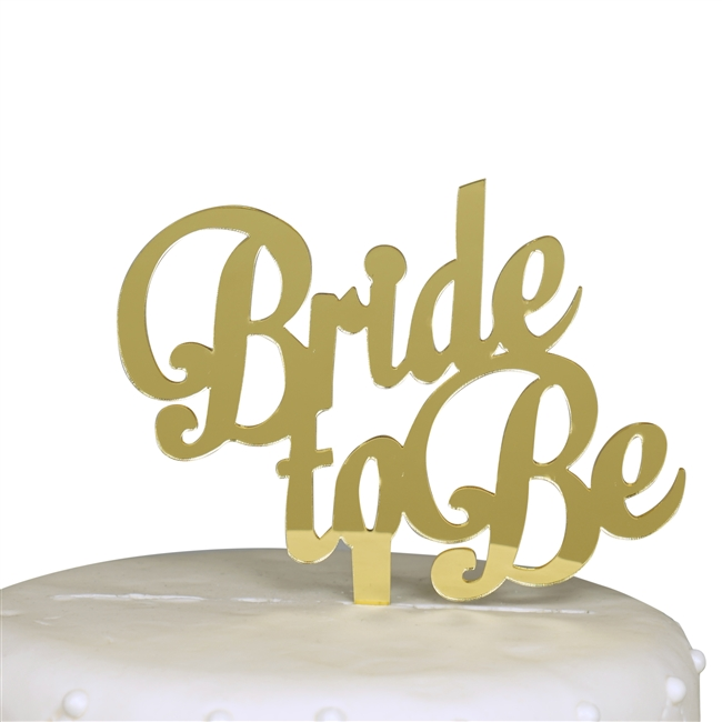 Bride to Be Bachelorette Party Cake Topper - Gold Mirror