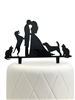 Bride, Groom, Two Dogs & Two Cats Silhouette Acrylic Cake Topper