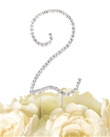 Simply Elegant Collection Rhinestone Monogram Cake Topper in Silver - Number 2