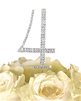 Simply Elegant Collection Rhinestone Monogram Cake Topper in Silver - Number 4