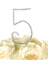 Simply Elegant Collection Rhinestone Monogram Cake Topper in Silver - Number 5