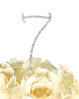 Simply Elegant Collection Rhinestone Monogram Cake Topper in Silver - Number 7