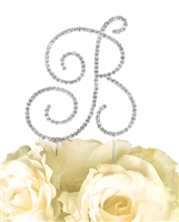 Simply Elegant Collection Rhinestone Monogram Cake Topper in Silver - Letter B