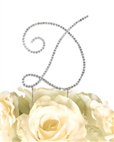 Simply Elegant Collection Rhinestone Monogram Cake Topper in Silver - Letter D
