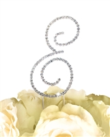 Simply Elegant Collection Rhinestone Monogram Cake Topper in Silver - Letter E