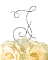 Simply Elegant Collection Rhinestone Monogram Cake Topper in Silver - Letter F