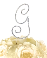 Simply Elegant Collection Rhinestone Monogram Cake Topper in Silver - Letter G