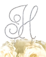 Simply Elegant Collection Rhinestone Monogram Cake Topper in Silver - Letter H