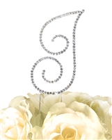 Simply Elegant Collection Rhinestone Monogram Cake Topper in Silver - Letter I