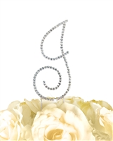 Simply Elegant Collection Rhinestone Monogram Cake Topper in Silver - Letter J