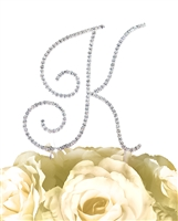 Simply Elegant Collection Rhinestone Monogram Cake Topper in Silver - Letter K