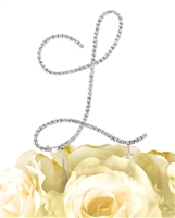 Simply Elegant Collection Rhinestone Monogram Cake Topper in Silver - Letter L