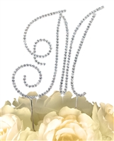 Simply Elegant Collection Rhinestone Monogram Cake Topper in Silver - Letter M