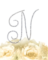 Simply Elegant Collection Rhinestone Monogram Cake Topper in Silver - Letter N