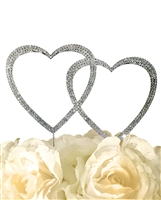 Sparkling Collection Double Heart - Medium - Silver Cake Topper