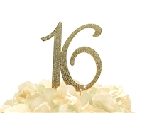 Sparkling Collection Rhinestone Cake Topper - 16 - Gold