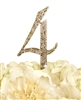 Sparkling Collection Rhinestone Monogram Cake Topper in Gold - Number 4