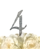 Sparkling Collection Rhinestone Monogram Cake Topper in Silver - Number 4