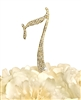 Sparkling Collection Rhinestone Monogram Cake Topper in Gold - Number 7