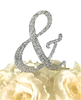 Sparkling Collection Rhinestone Monogram Cake Topper in Silver - Ampersand