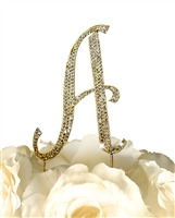 Sparkling Collection Rhinestone Monogram Cake Topper in Gold - Letter A