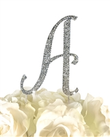 Sparkling Collection Rhinestone Monogram Cake Topper in Silver - Letter A