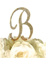 Sparkling Collection Rhinestone Monogram Cake Topper in Gold - Letter B