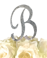 Sparkling Collection Rhinestone Monogram Cake Topper in Silver - Letter B